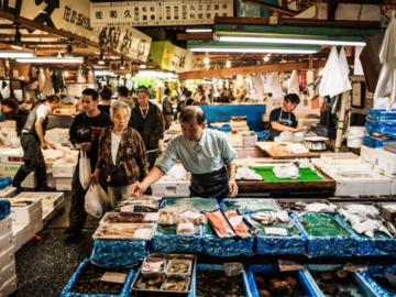 Kostenlose Tour Tsukiji, Hongan-ji und Hamarikyu Fischmarkt